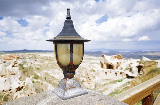 Street lamp at observation platform in Cappadocia, Turkey