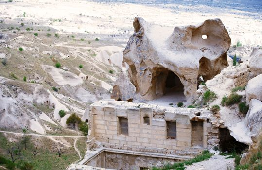 Ruins of the ancient Greek temple in Cappadocia, Turkey