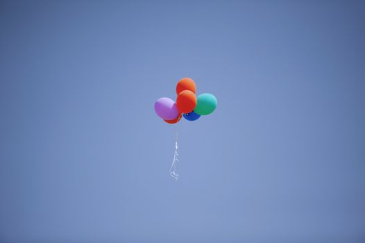 Colorful balloons flying in the sky