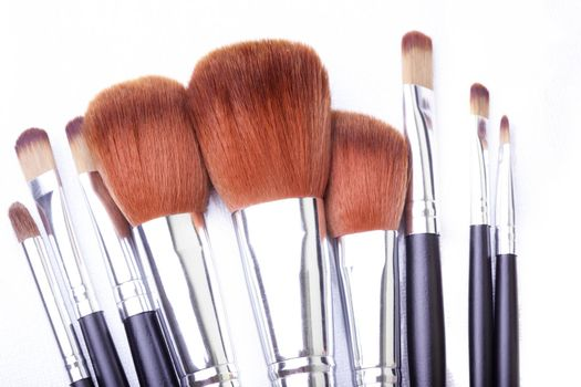 Set of makeup brush in leather cover. Close-up photo