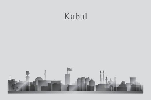 Kabul city skyline silhouette in grayscale
