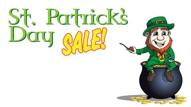 lLeperchaun on pot of gold saint patricks day sale banner