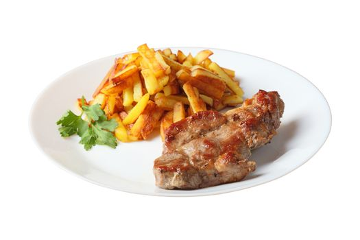 steak with fried potatoes side wiev isolated