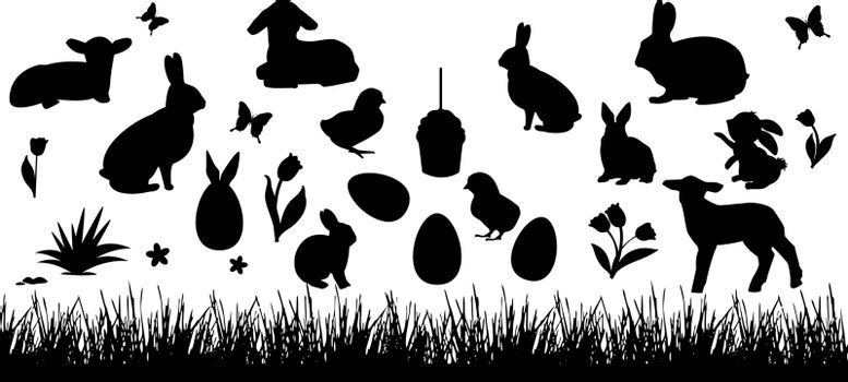 Silhouettes of rabbits, chickens, lambs on a white background. Grass, butterfly and flowers. Set of easter elements for design.