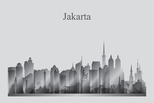 Jakarta city skyline silhouette in grayscale