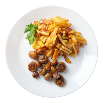 fried potatoes with mushrooms isolated top view