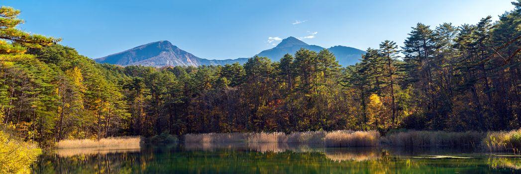 Panorama Goshiki-numa Five Colour Pond in Autumn, Urabandai, Fukushima, Japan
