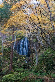 Tatsuzawafudo waterfall in autumn Fall season at Fukushima