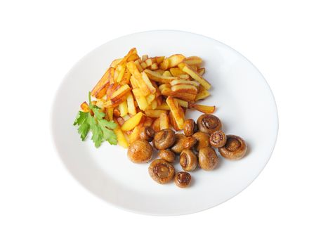 fried potatoes with mushrooms isolated