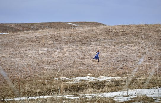 Woman running in the field