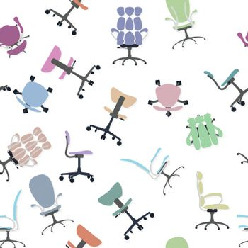 Chair collection and seamless pattern.
