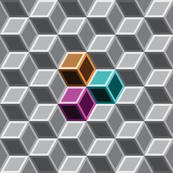 3d box seamless pattern on grey tone.