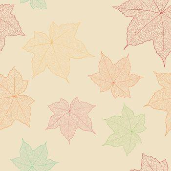 Leaf seamless pattern hand sketching.