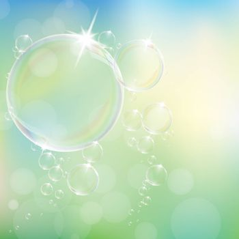 Realistic soap bubbles with rainbow reflection set isolated eps10 vector illustration.