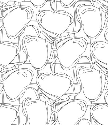 Seamless lined pattern with heart shape.