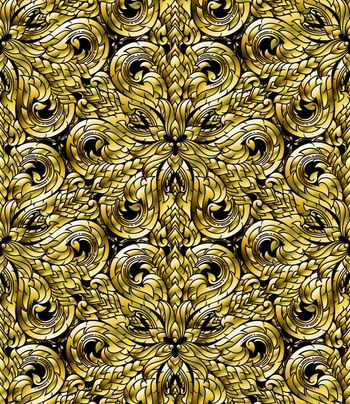 Line Thai seamless pattern, Thai traditional art was modified to be gold tone.