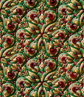Thai traditional ethnic art abstract, on three dimensional seamless pattern.