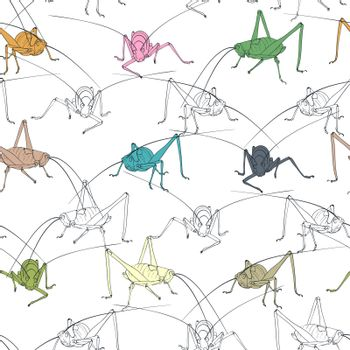 Colorful grasshopper seamless background.