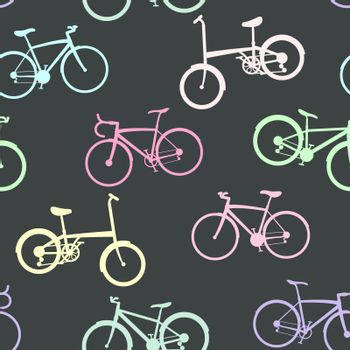 Bike collection on seamless background.