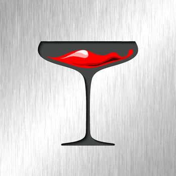 Red blood in glass with stainless steel background.