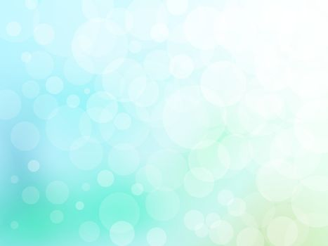 Bokeh abstract background on blue and green vector graphic art.