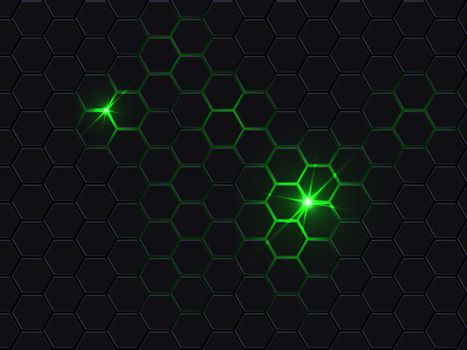 Hexagonal polygon abstract dark background.