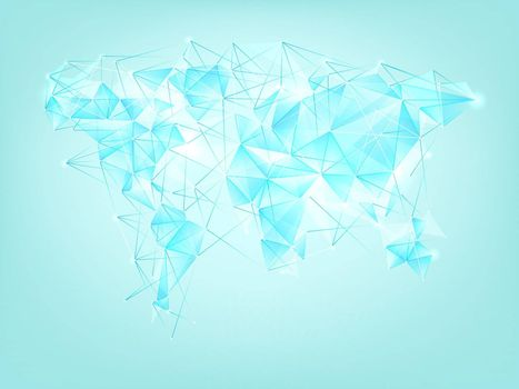 World map polygon abstract background.