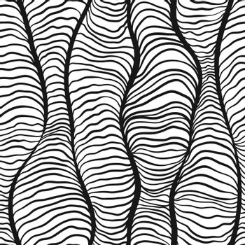 Monochrome doodle abstract seamless background.