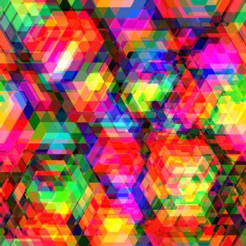 Colorful hexagon polygon and seamless background.