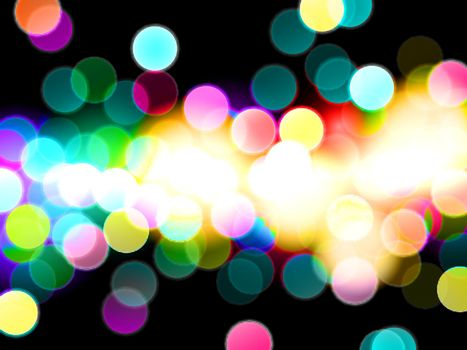 Colorful bokeh light effect  with dark room vector abstract background.