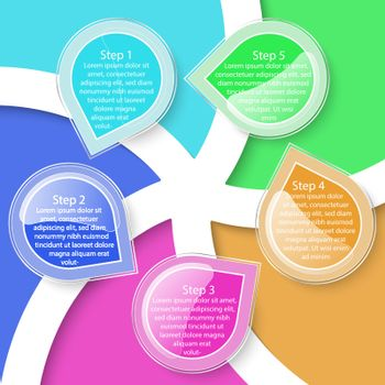 Colorful five labels transparency infographic.