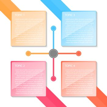 Colorful four labels transparency infographic.