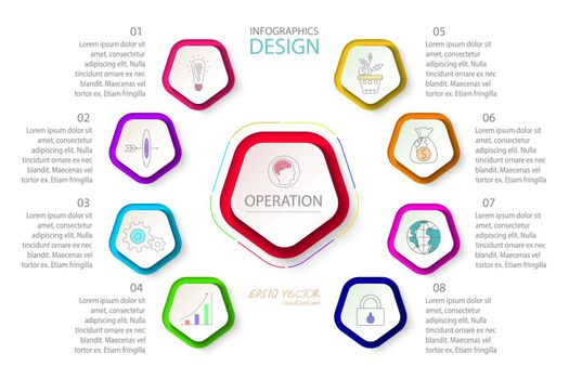Pentagons label infographic with 9 steps.