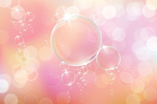 Bubbles soap on pink background.