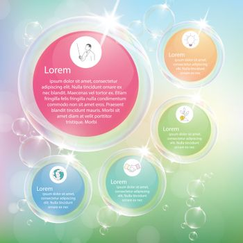 Transparent bubbles infographic with pastel color.