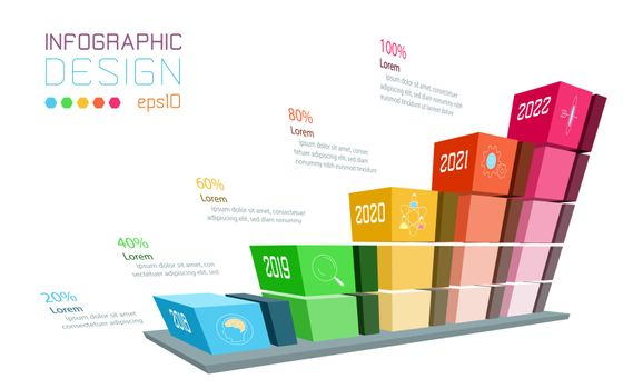 Business infographic on three dimensional graph bar.