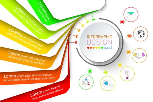 Colorful banner business infographic with six steps.