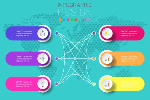 Six labels with business icon and world map background infographics.