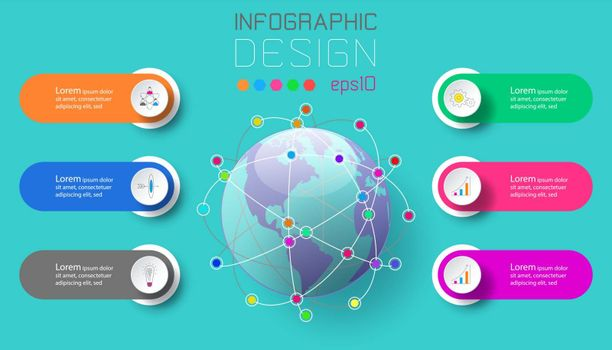 Six labels with business icon and world map at center infographics.