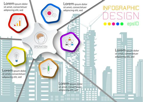 Five circles with business icon infographics on silhouette town.