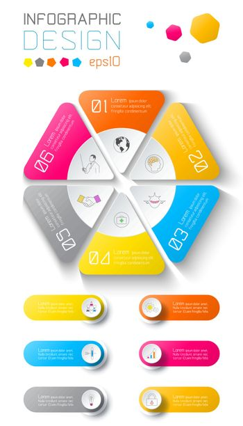 Business infographic on world map background with 6 labels under hexagon circle.