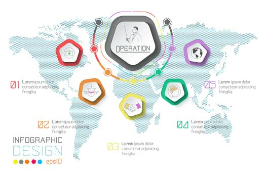 Business labels infographic on world map background.