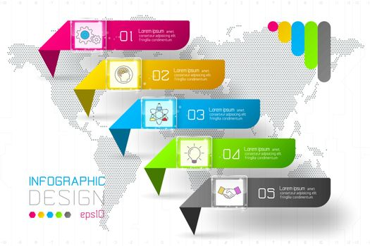 Colorful business rectangle labels shape infographic horizontal bar.