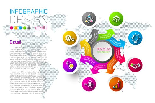 Business colorful labels shape infographic circles bar.