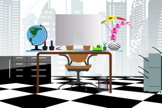 Business concept a desktop at office flat style with atrium buildings in transparent glass windows and can see through out to cityscape.