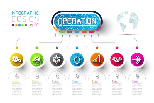 Business infographic with 7 steps.
