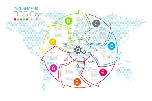 Business arrow labels shape infographic groups bar.