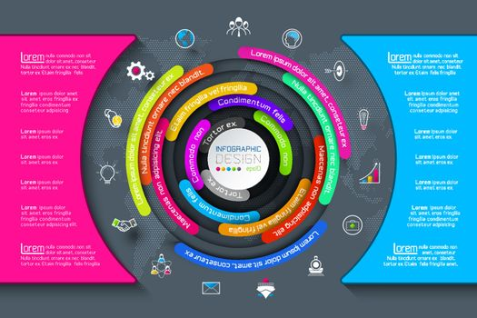Business Infographics circle origami with shadow style Vector illustration.