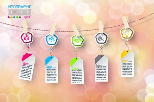 Business infographic 5 steps hanging on clotheslined with bubble background.
