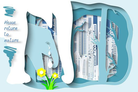 Wildlife and forest on city background as please return to forest concept.